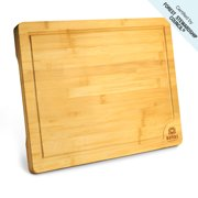 """Royal Craft Wood Bamboo Cutting Board for Kitchen with Juice Groove - Kitchen Chopping Board for Meat (Butcher Block), Cheese and Vegetables - Heavy Duty Serving Tray w/Handles (Medium,10 x 15"""")"""