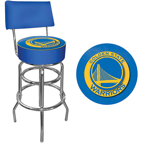 "Trademark NBA Golden State Warriors 40"" Padded Swivel Bar Stool with Back, Chrome"