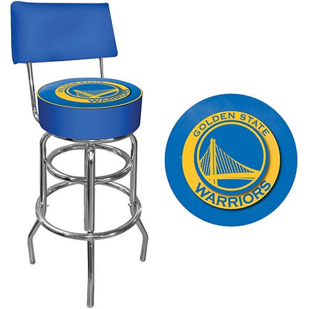 Trademark NBA Golden State Warriors 40u0022 Padded Swivel Bar Stool with Back, Chrome