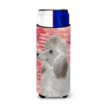 Grey Standard Poodle Love Michelob Ultra Hugger for Slim Cans - Gray Poodle