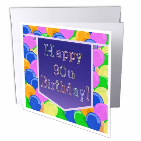 Happy 90th Birthday Balloons (3dRose Balloons with Purple Banner Happy 90th Birthday, Greeting Cards, 6 x 6 inches, set of)
