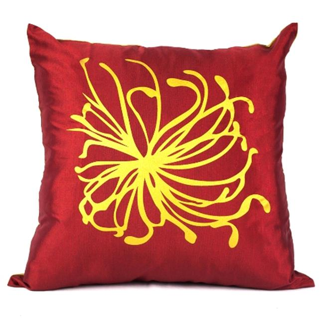 DecorFreak Silk Red & Golden Printed Throw Pillow Cover