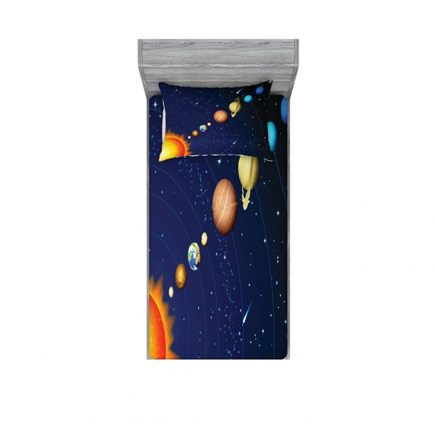 space bedding set with sheet  covers solar system sun