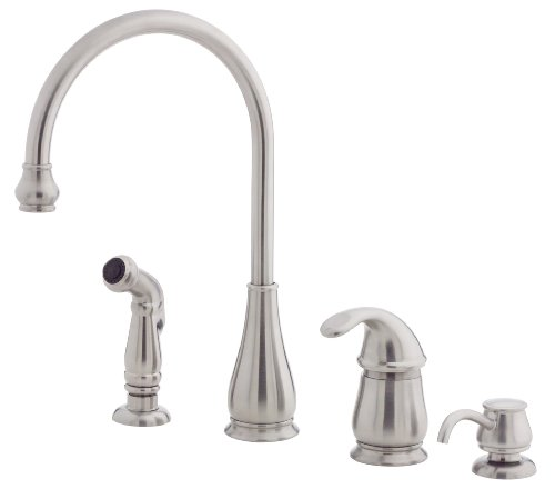 Pfister Treviso 1-Handle Kitchen Faucet with Side Spray & Soap Dispenser in Stainless Steel by Spectrum Brands