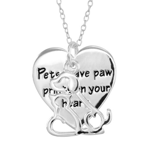 Malin + Mila Silver Overlay Dog and Cat Heart Necklace