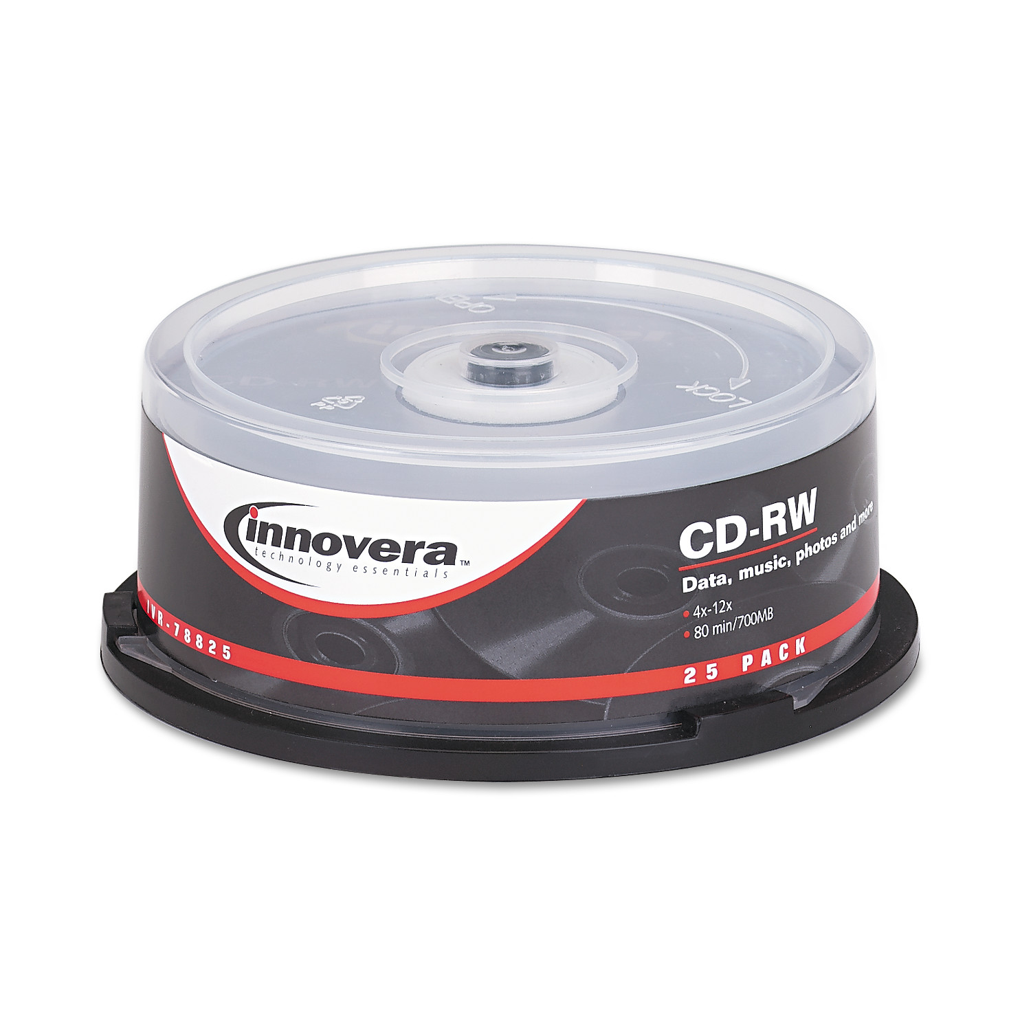 Innovera CD-RW Discs, 700MB/80min, 12x, Spindle, Silver, 25/Pack -IVR78825