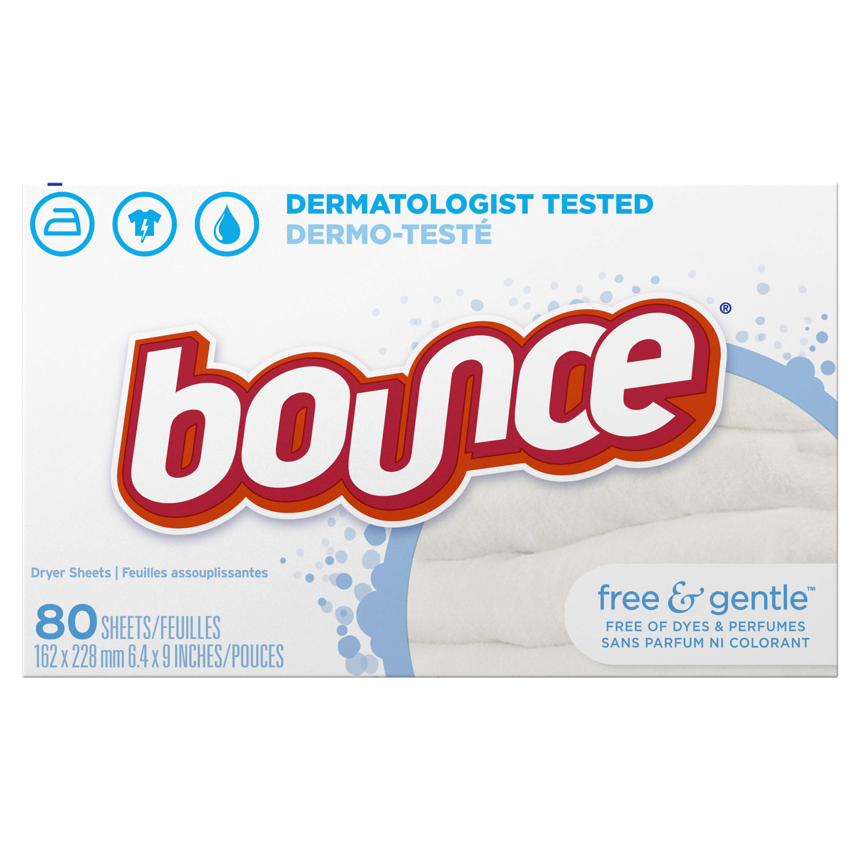 Bounce Dryer Sheets, Free & Gentle, 80 Count