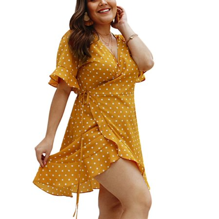 Polka Dots Print Women V-neck Plus Size Dress
