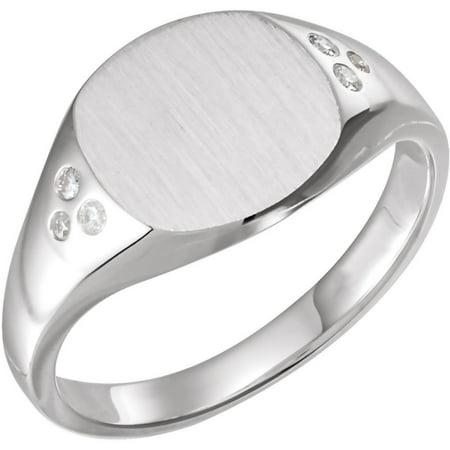 14K White Gold Women .05 CTW Diamond Ladies Signet Engagement Ring Size 7 Diamond Shape Signet Ring