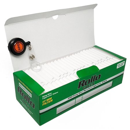 Rollo Green - King Size (84mm) Menthol Cigarette Tubes (200 Tubes per Box) 1 Box with Rolling Paper Depot Lighter (Best Menthol Cigarette Tubes)