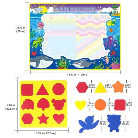 3Size Christmas Aqua Doodle Children Water Drawing Toys Painting Mat Magical Pen Educational Toy 1 Mat+ Water Drawing Pen - image 9 de 9