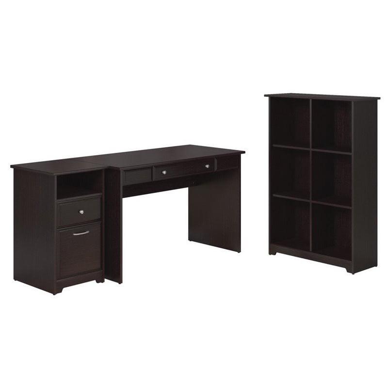 Cabot Writing Desk with File Cabinet and 6 Cube Bookcase in Espresso Oak - image 7 de 7
