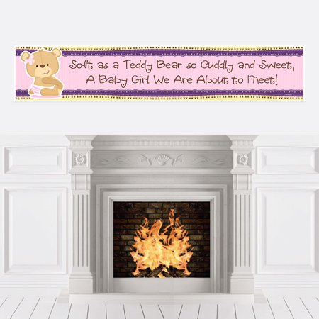 Girl Baby Teddy Bear - Baby Shower Decorations Party Banner