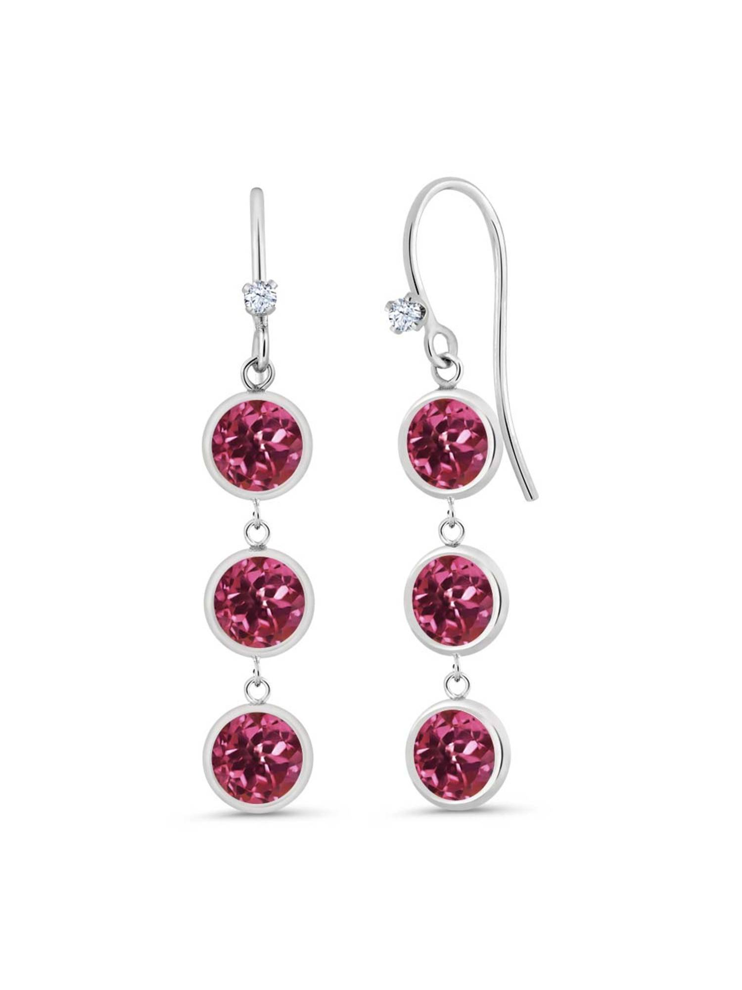 3.03 Ct Round Pink Tourmaline 925 Sterling Silver Earrings by