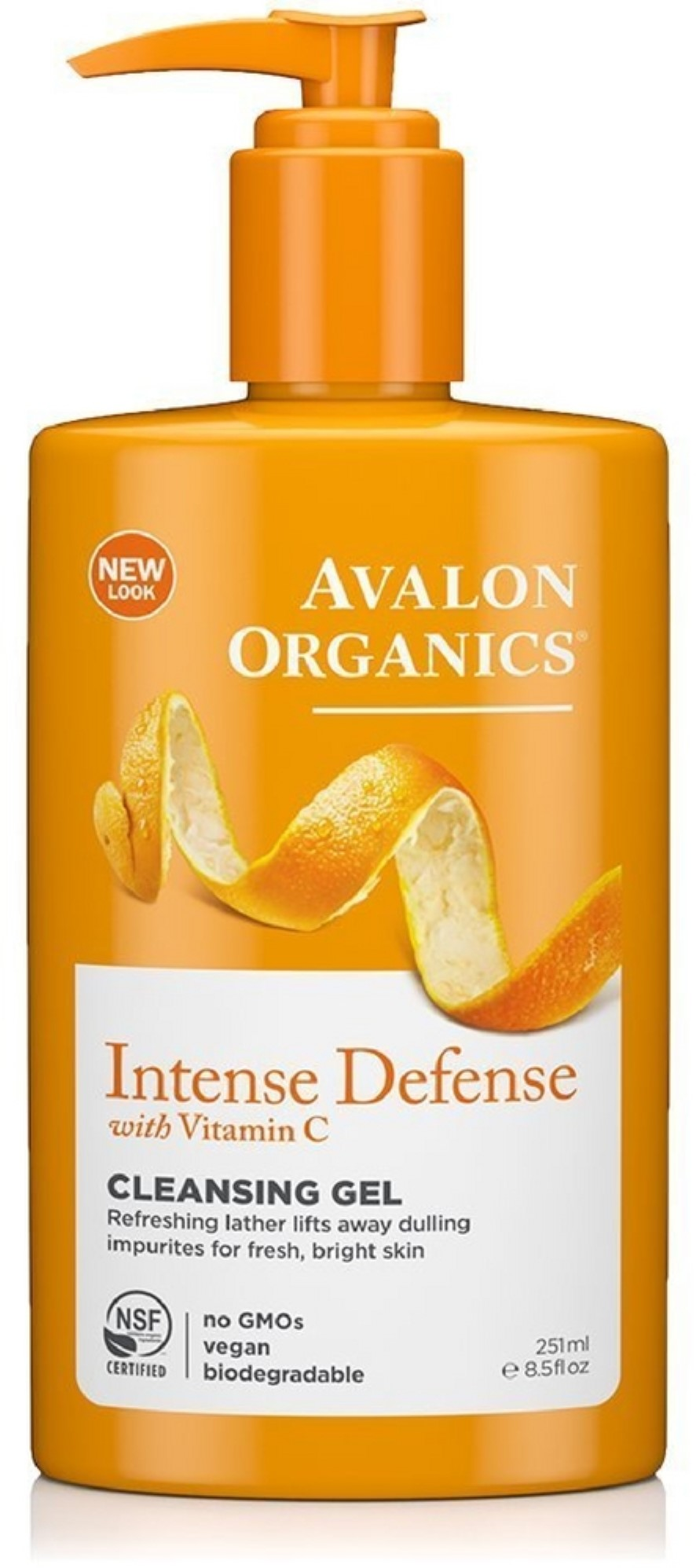 Avalon Organics Intense Defense with Vitamin C Cleansing Gel 8.50 oz (Pack of 2) 2 Pack - EcoTools Pure Complexion Facial Sponge, Deep Cleansing 1 ea