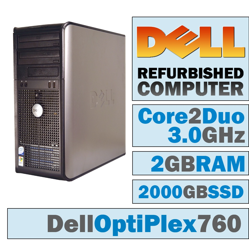REFURBISHED Dell OptiPlex 760 MT/Core 2 Duo E8400 @ 3.00 GHz/2GB DDR2/NEW 2000GB SSD/DVD-RW/WINDOWS 10 PRO 64 BIT