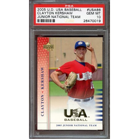2005 u.d. usa baseball junior national team #usa86 CLAYTON KERSHAW rookie PSA -