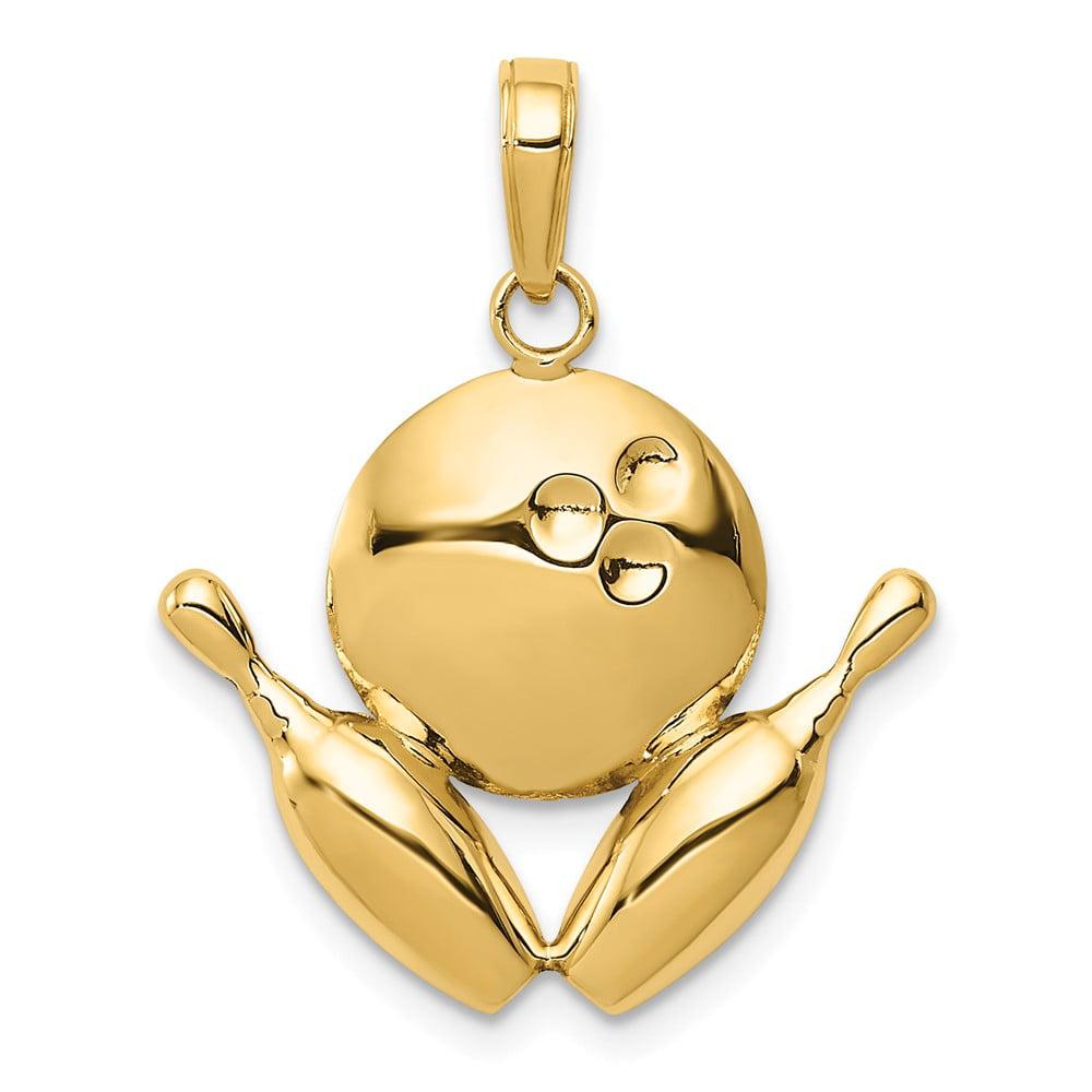 14k Yellow Gold D/C Bowling Theme Charm Pendant