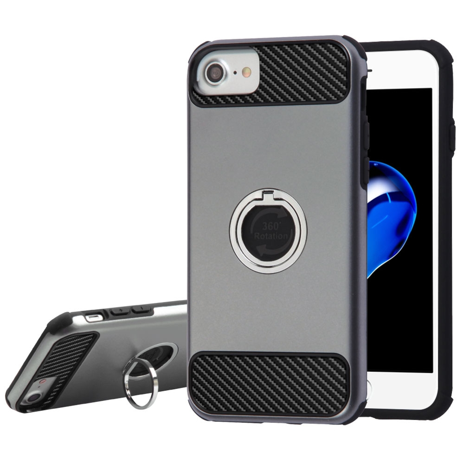 Insten Carbon Fiber Hard Hybrid TPU Case ( with Ring Stand ) For Apple iPhone 7 / 6 / 6s - Gray/Black