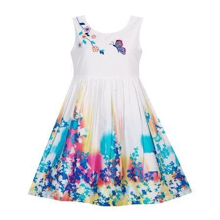 (Girls Dress Butterfly Seeking Flower Embroidery Chinese Style 4)