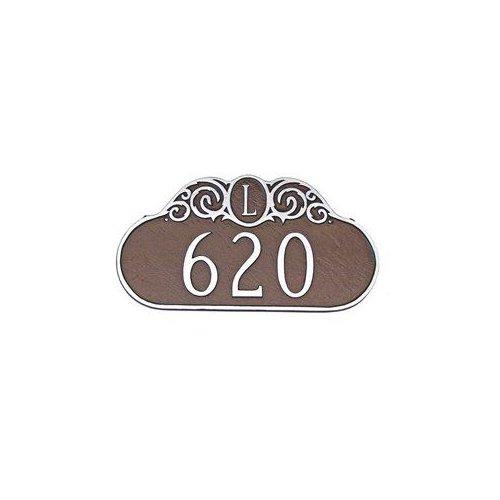 Montague Metal PCS-14 Ornate Monogram One Line Address Plaque Brick Red by Brand New