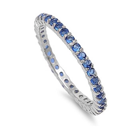 Stackable Eternity Ring Simulated Sapphire Cubic Zirconia Sterling Silver 925 (Sapphire Medium Stackable Ring)