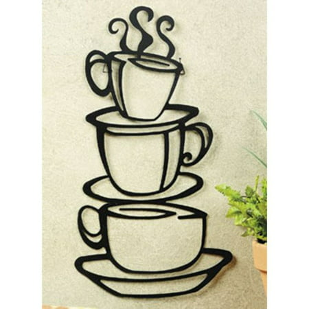 Black Coffee Cup Silhouette Metal Wall Art by Super Z Outlet ...
