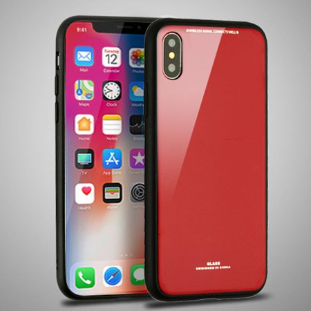 Apple iPhone X Case, by Insten Executive Protector Hard Snap-in Case Cover For Apple iPhone X, Red/Black (Combo with Mirror Screen Protector) - image 1 of 3