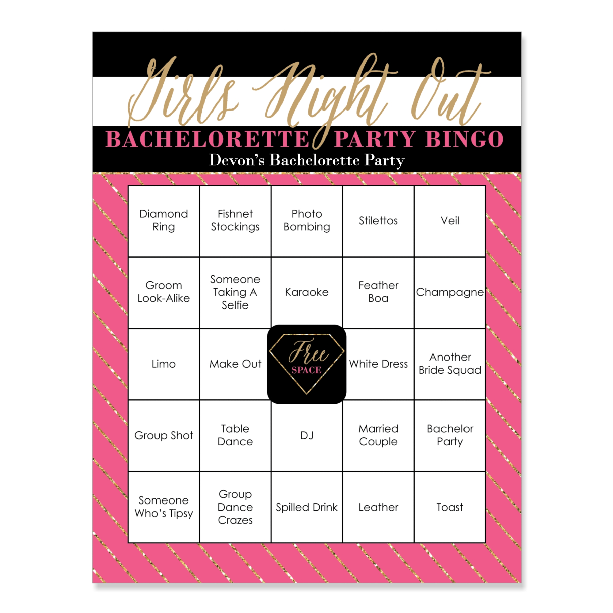 928fba6a0e Girls Night Out - Bachelorette Party Bingo Game & Bar Bingo Game Cards - 16  Count - Walmart.com