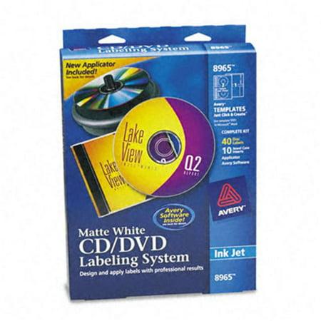 Avery CD/DVD Design Labeling Kits, Matte White, 40 Inkjet Labels and 10 Inserts