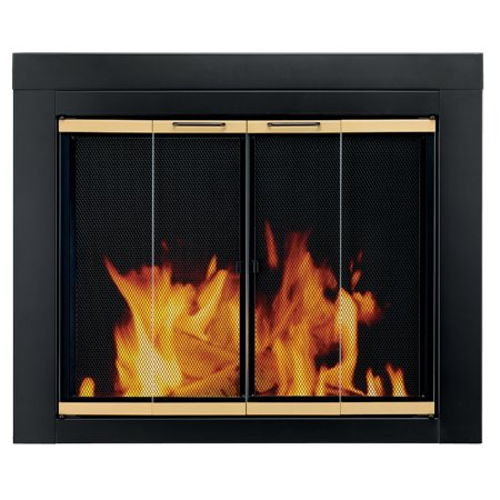 Pleasant Hearth Arrington Black with gold trim Fireplace Glass Firescreen doors - Small ()