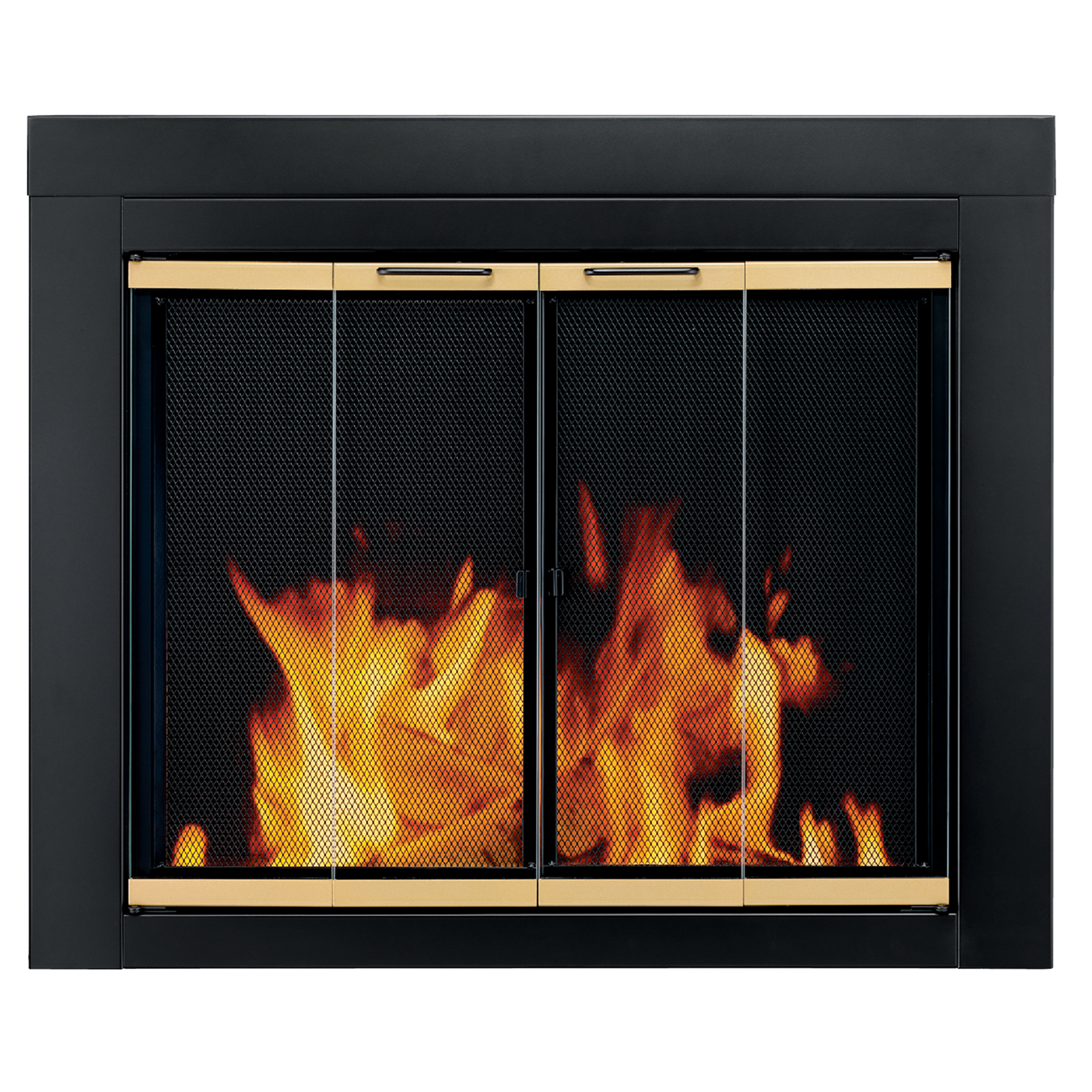 Pleasant Hearth Arrington Black with gold trim Fireplace Glass Firescreen doors - Small