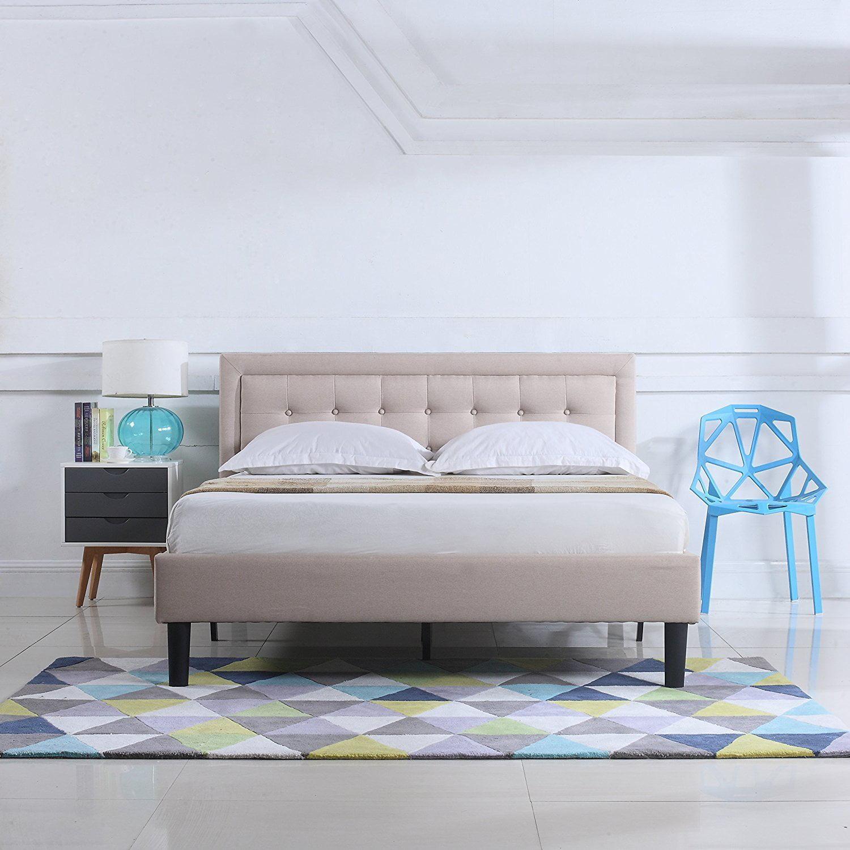 Classic Deluxe Linen Low Profile Platform Bed Frame With Nailhead Trim Headboard Design Cal King Ivory Walmart Com Walmart Com