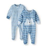 Gerber Organic Cotton Zip Front Sleep N Play Pajamas, 2Pk(Baby Boys)