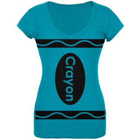 Crayon Costume Turquoise Juniors V-Neck T-Shirt (Nz Halloween Date)