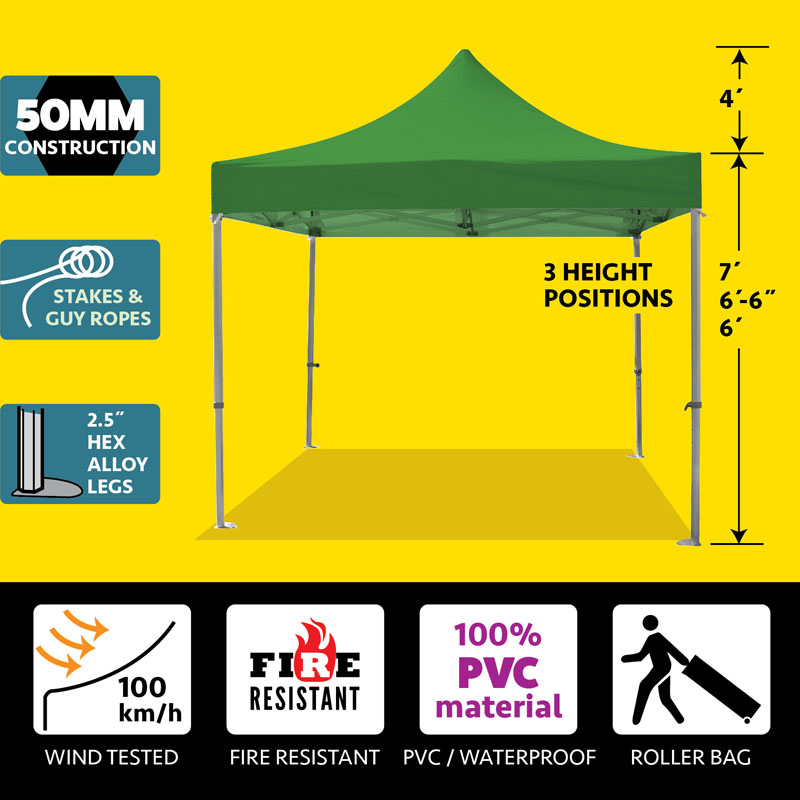 Party Tents Direct 10x10 50mm Speedy Pop Up Instant Canopy Event Tent, Various Colors