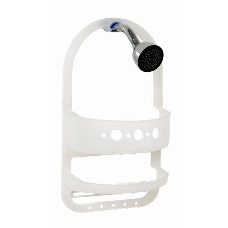 White Wood Caddy - Zenna Home 5990KK Frosted White Over the Showerhead Caddy