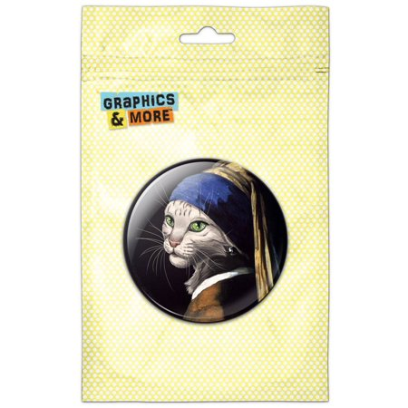 The Cat with the Pearl Earring Girl Johannes Vermeer Pinback Button Pin (Johannes Vermeer Girl With A Pearl Earring Value)