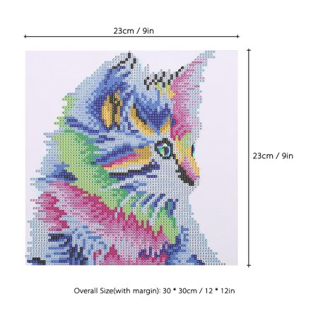 12 * 12 inches/30 * 30cm DIY 5D Diamond Painting Kit Colorful Cat Pattern Resin Rhinestone Embroidery Cross Stitch Craft Home Wall Decor - image 6 of 7