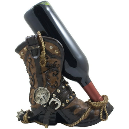 Fancy Cowboy Boot Wine Bottle Holder As Decorative Display Stand For Western Bar or Kitchen by Home 'n Gifts