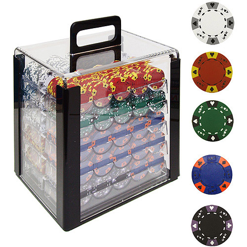 Trademark Poker 1000 14 Gram Tri-Color Ace King Clay Poker Chips with Acrylic Case by TRADEMARK GAMES INC