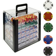 Trademark Poker 1000 14 Gram Tri-Color Ace/King Clay Poker Chips with Acrylic Case