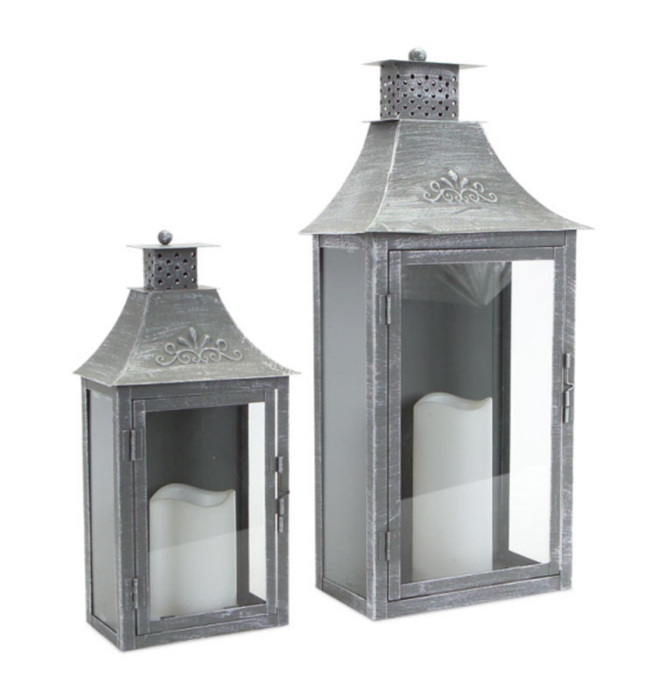"""Set of 2 Rustic Gray Brushed Metal Wall Mounted Pillar Candle Lanterns 19.5"""""""