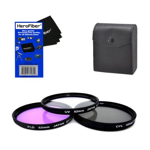 52mm Multi-Coated professional 3 Piece Lens Filter Kit (UV-CPL-FLD) For The Nikon 55-200mm f/4-5.6G ED AF-S DX Autofocus Lens with HeroFiber® Ultra Gentle Cleaning Cloth