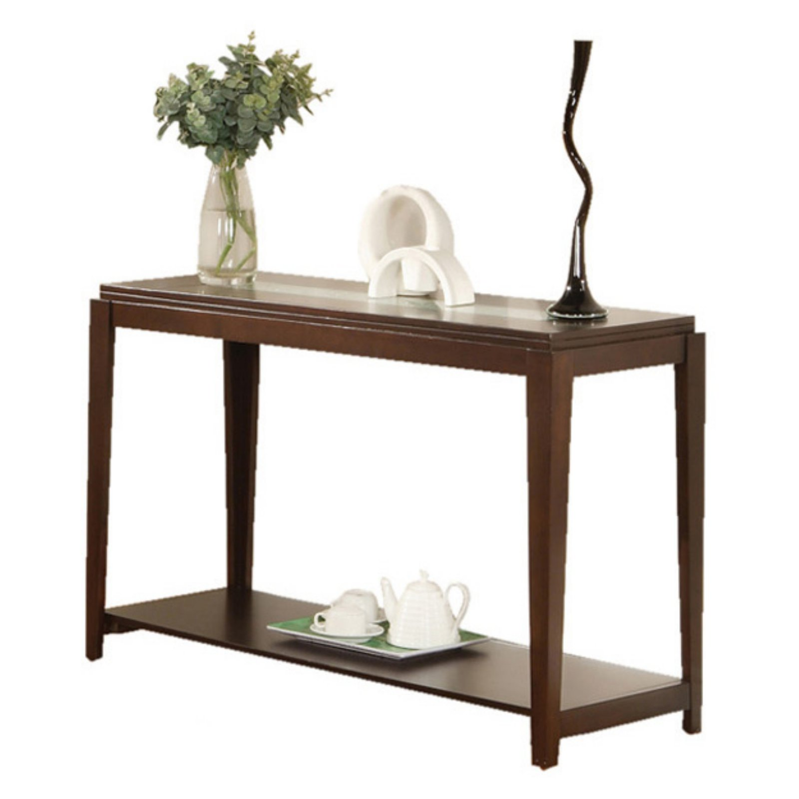 Steve Silver Ice Sofa Table with Cracked Glass Insert - Cherry