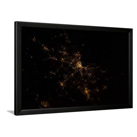 Night time satellite image of Boston, Massachusetts, USA Framed Print Wall Art