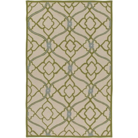 8 X 10 Interweaving Arrangement Lime Green  Beige And Off White Area Throw Rug