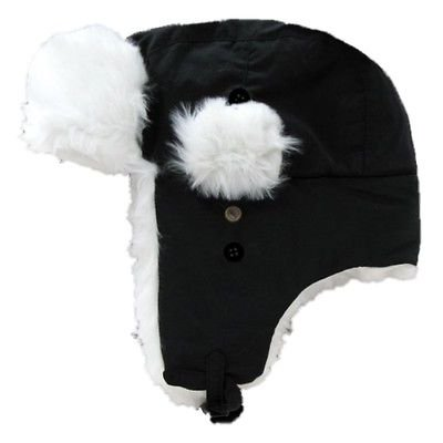 Thermal Trapper (Black Aviator Bomber Faux Fur Winter Ski Trooper Trapper Ear Flap Hat Cap L/XL )