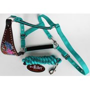 Noseband Tack Bronc Leather Horse HALTER Tiedown Lead Rope Pink 280639T