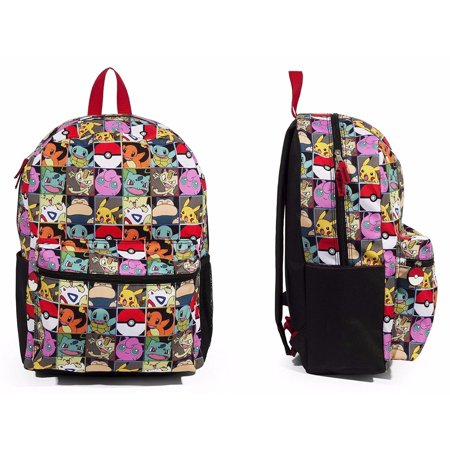 Nintendo Pokemon Pikachu&Charmander, Evee Boy's Allover Print 16 School Backpack - Pokemon School Backpack
